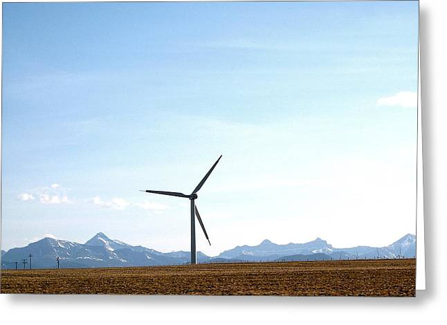 Wind Turbine Greeting Card by Mavis Reid Nugent