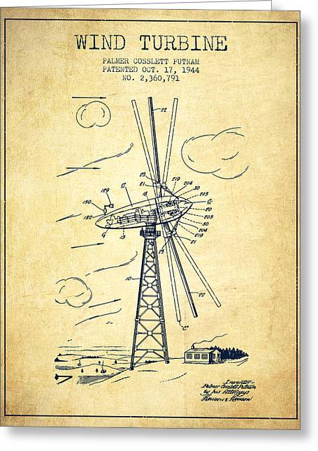 Wind Turbine Patent From 1944 - Vintage Greeting Card