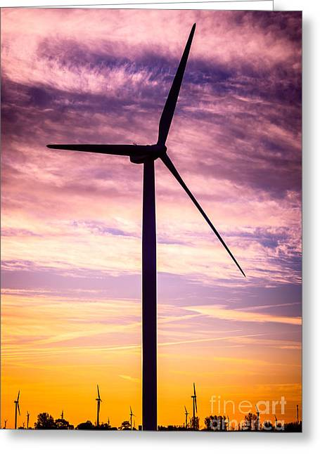 Wind Turbine Picture On Wind Farm In Indiana Greeting Card by Paul Velgos