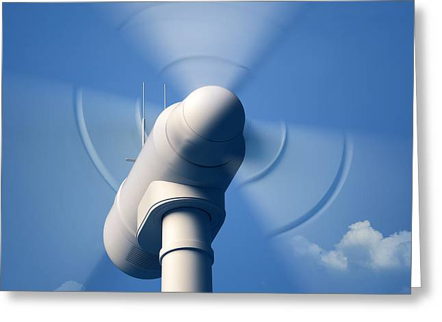 Wind Turbine Rotating Close-up Greeting Card