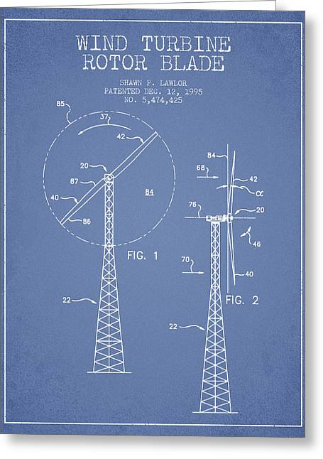 Wind Turbine Rotor Blade Patent From 1995 - Light Blue Greeting Card
