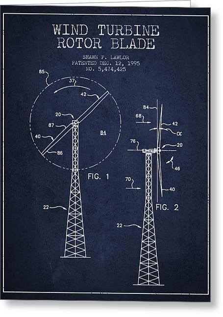 Wind Turbine Rotor Blade Patent From 1995 - Navy Blue Greeting Card
