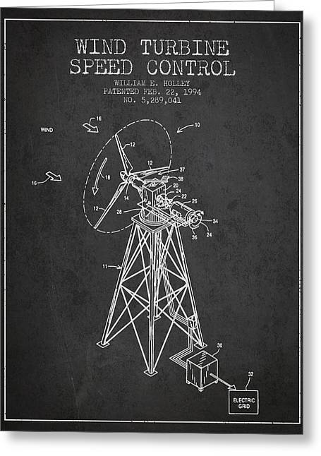 Wind Turbine Speed Control Patent From 1994 - Dark Greeting Card