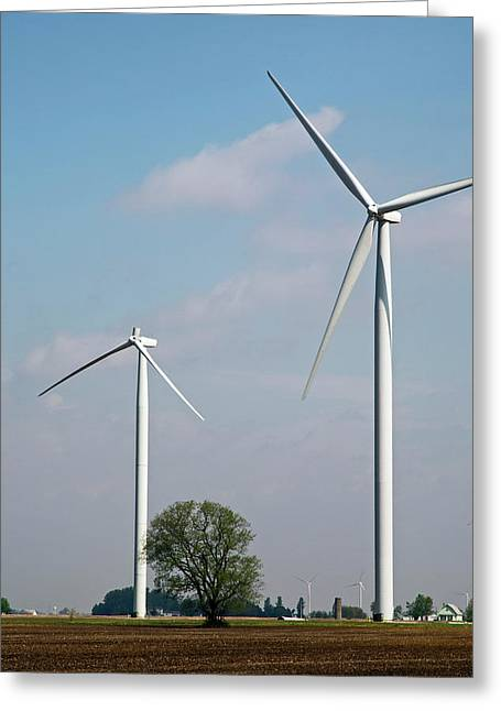 Wind Turbine With Missing Blade Greeting Card