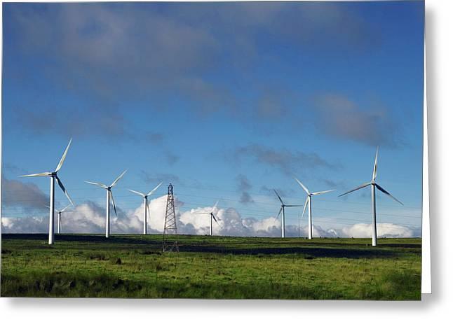 Wind Turbines And Pylon Greeting Card