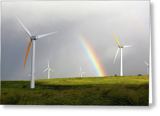 Wind Turbines And Rainbow Greeting Card by Michael Szoenyi