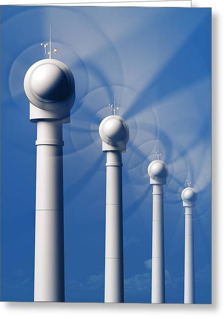 Wind Turbines In Motion From The Front Greeting Card