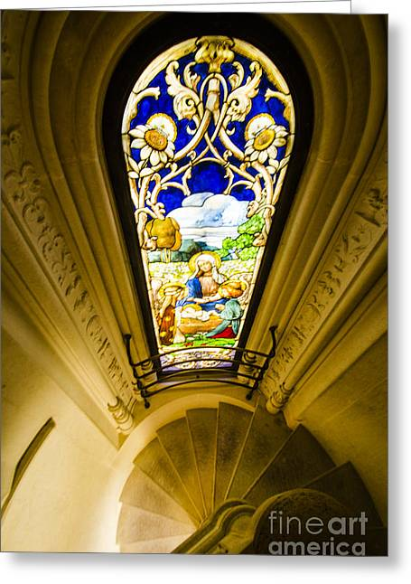Winding Chapel Stairs And Stained Glass Greeting Card