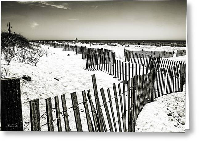 Winding Fence - Bridgehampton Beach - Ny Greeting Card by Madeline Ellis