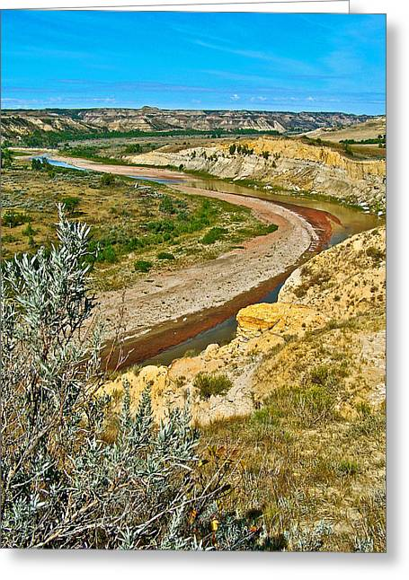 Winding Little Missouri River In Theodore Roosevelt National Park-north Dakota   Greeting Card