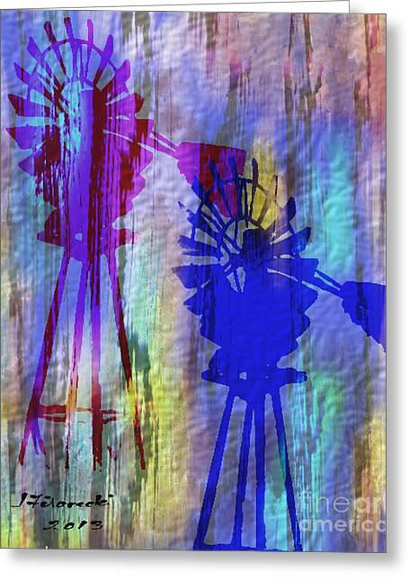 Windmill Abstract Painting Greeting Card by Judy Filarecki