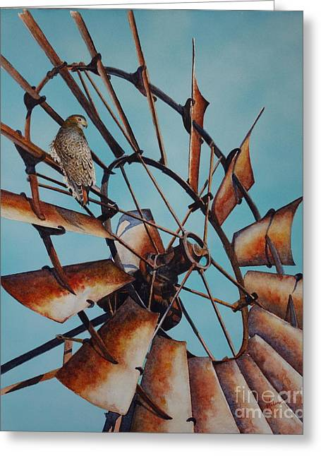Windmill And Hawk Greeting Card