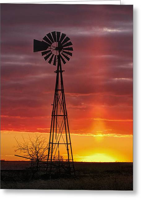 Windmill And Light Pillar Greeting Card