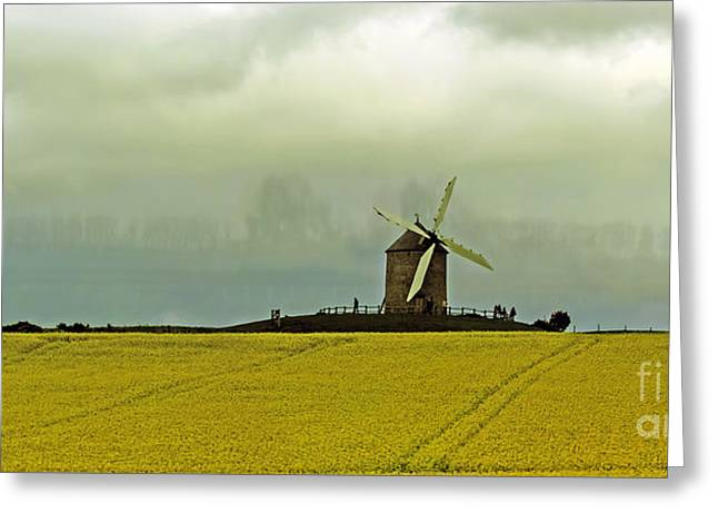 Windmill And Rapeseed And Storm Greeting Card