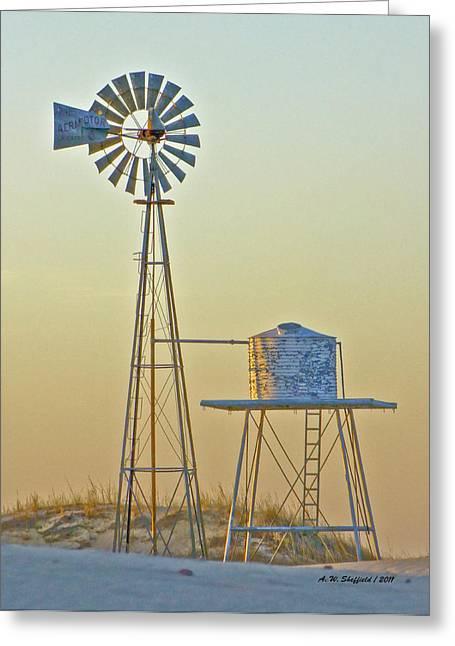 Windmill At Dawn 2011 Greeting Card