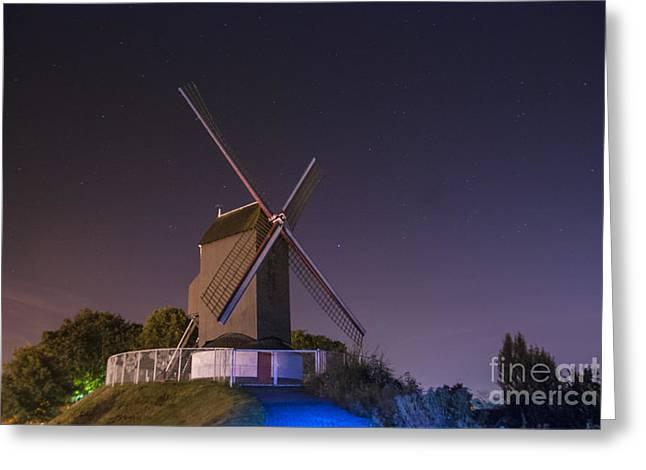 Windmill At Night Greeting Card by Juli Scalzi