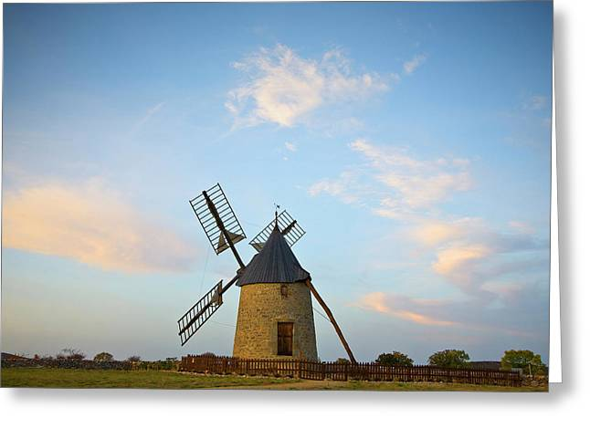 Windmill At St Pierre De La Fage Greeting Card by Panoramic Images