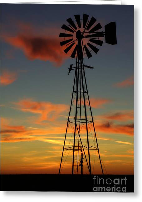 Greeting Card featuring the photograph Windmill At Sunset 1 by Jim McCain