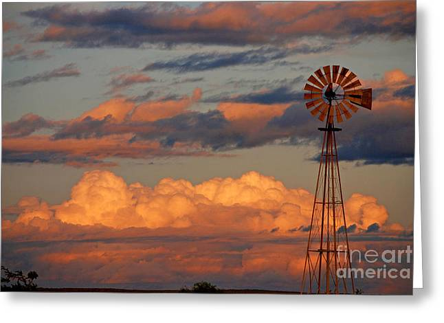 Windmill At Sunset H Greeting Card