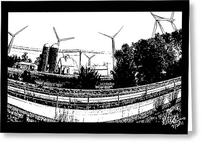 Windmill Farm Greeting Card by Gerry Robins