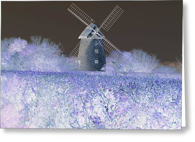 Windmill In A Purple Haze Greeting Card by Linda Prewer