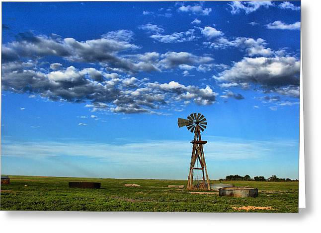 Windmill In Blue Greeting Card by Steven Reed