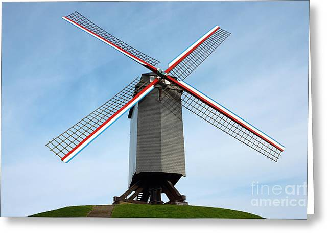 Windmill In Bruges Belgium Greeting Card by Kiril Stanchev