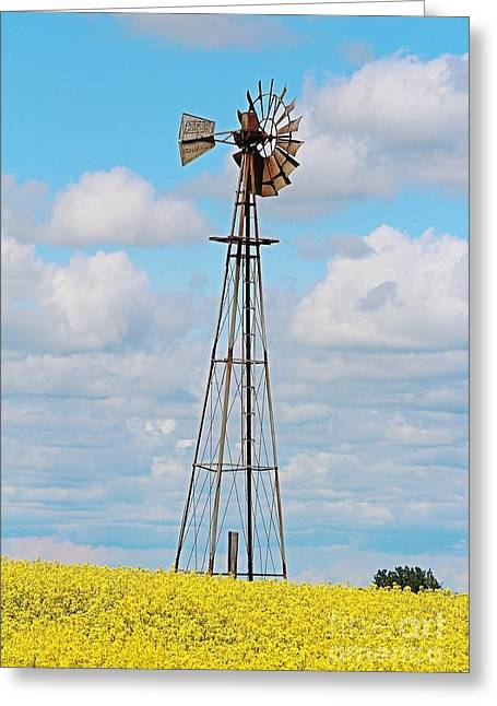 Windmill In Canola Field Greeting Card