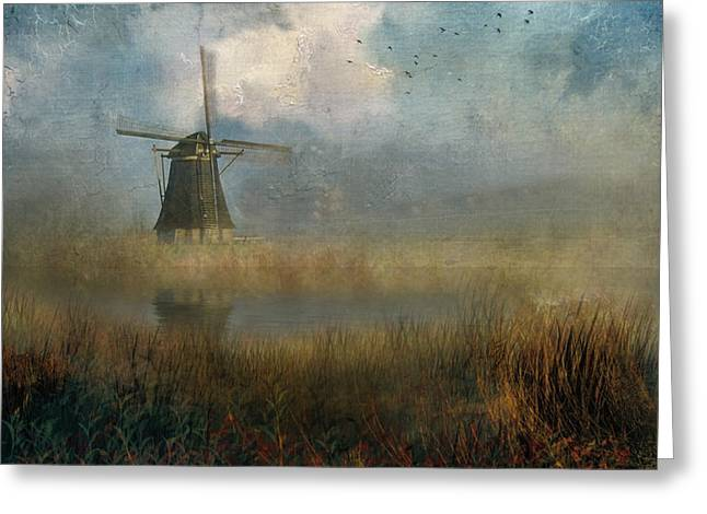 Windmill In Mist Greeting Card