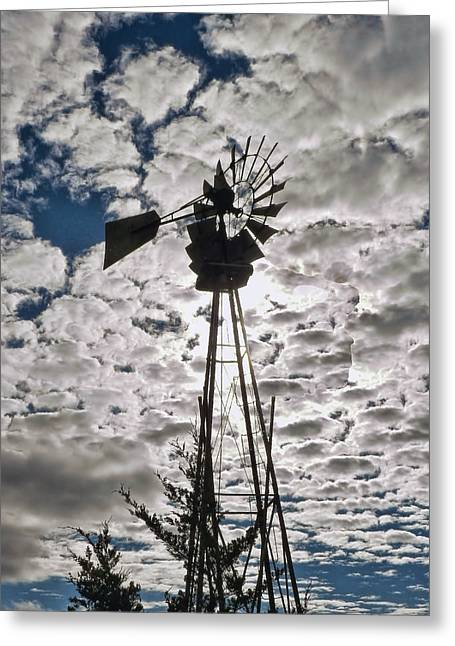 Greeting Card featuring the digital art Windmill In The Clouds by Cathy Anderson