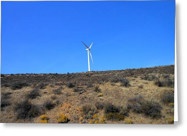 Windmill In The Desert Greeting Card by Kay Gilley