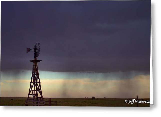 Windmill In The Rain Greeting Card