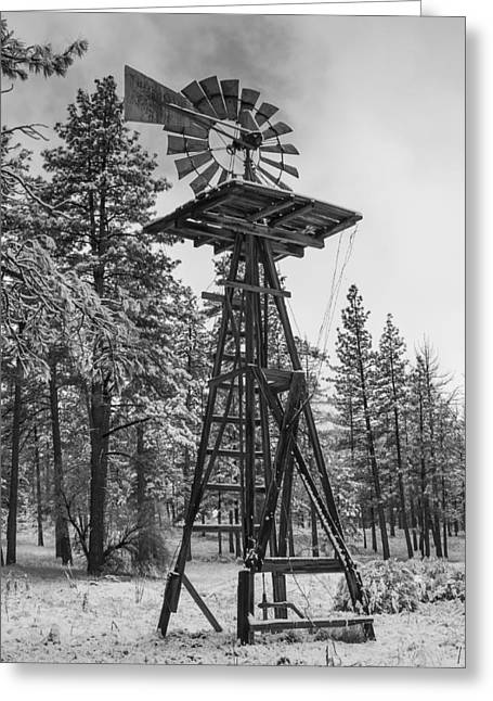 Windmill In The Snow Black And White Greeting Card by Scott Campbell