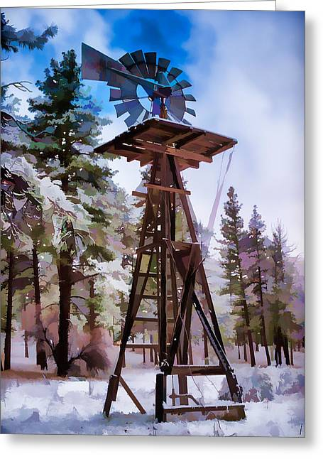 Windmill In The Snow Impressionistic Greeting Card