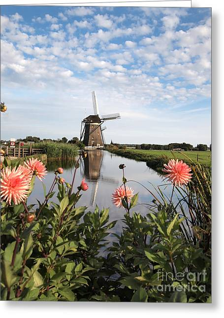 Windmill Landscape In Holland Greeting Card by IPics Photography