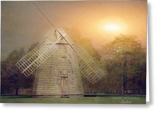 Windmill Moon Glow Greeting Card by Corinne Rogers