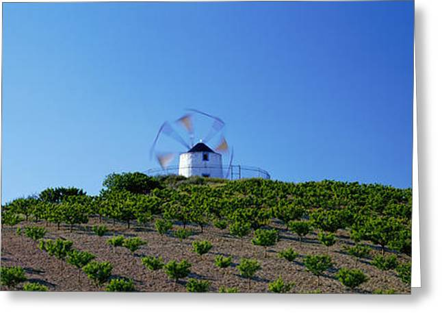 Windmill Obidos Portugal Greeting Card by Panoramic Images