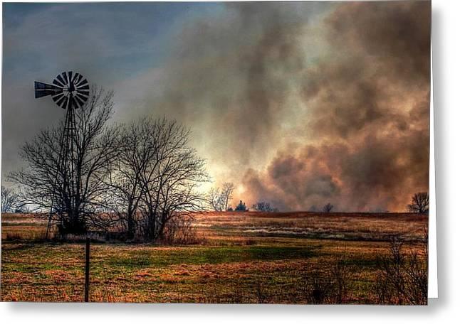 Windmill On A Burning Field Greeting Card by Karen McKenzie McAdoo
