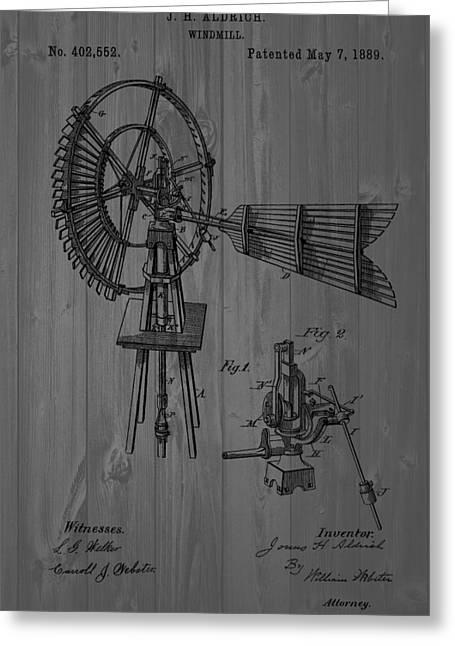 Windmill Patent Barn Wall Greeting Card