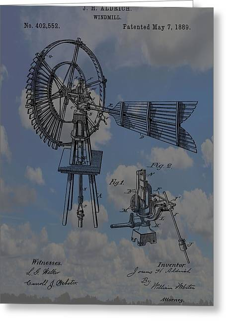 Windmill Patent Blue Skies Greeting Card by Dan Sproul