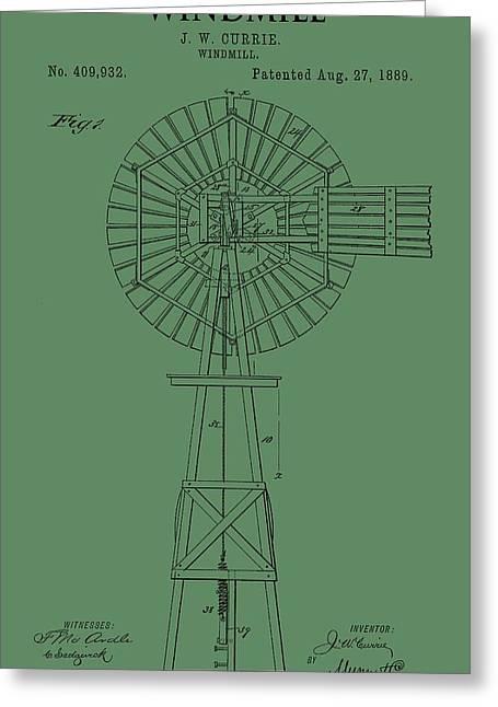 Windmill Patent On Green Greeting Card
