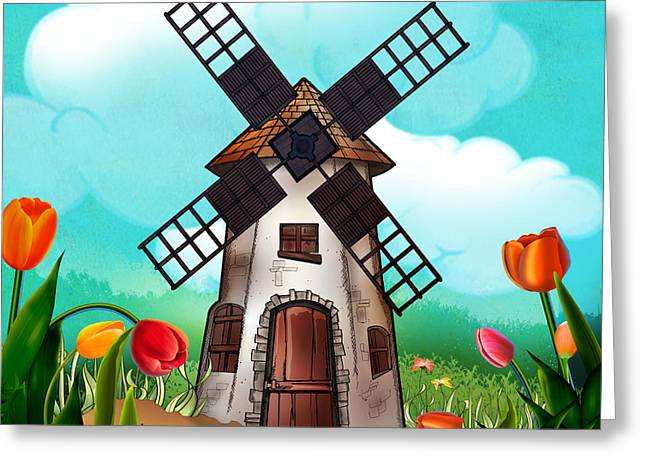 Windmill Path Greeting Card