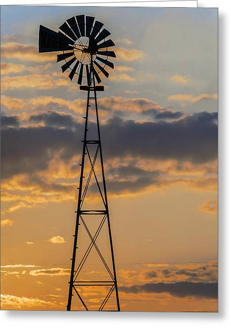 Windmill Silhouette Greeting Card by Brian Wallace