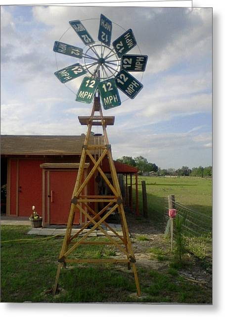 Windmill Speed Sign Posted Greeting Card