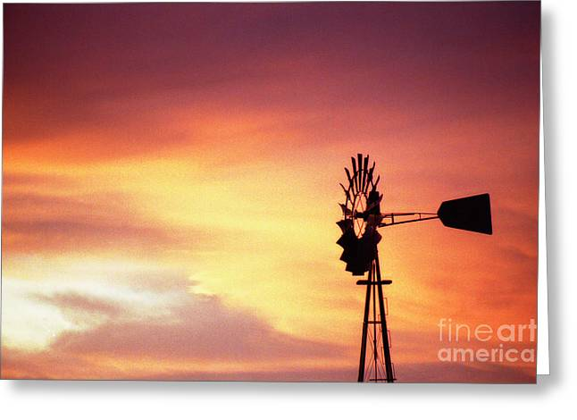 Windmill Sunset Greeting Card