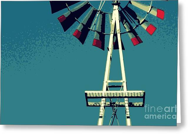 Greeting Card featuring the digital art Windmill by Valerie Reeves