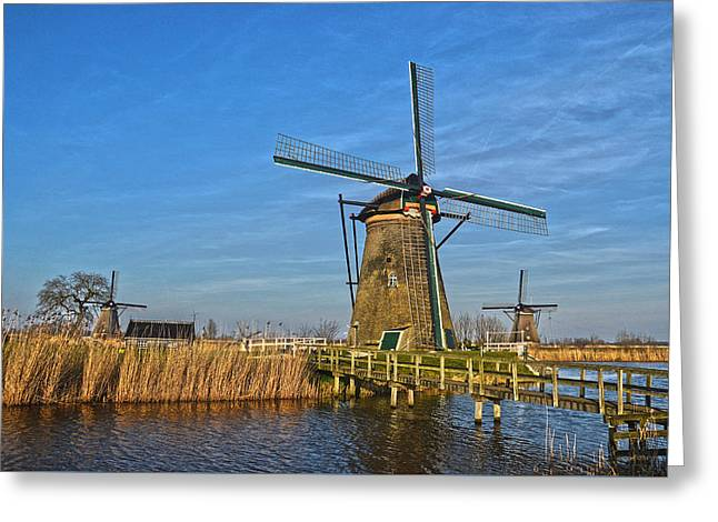 Windmills And Bridge Near Kinderdijk Greeting Card