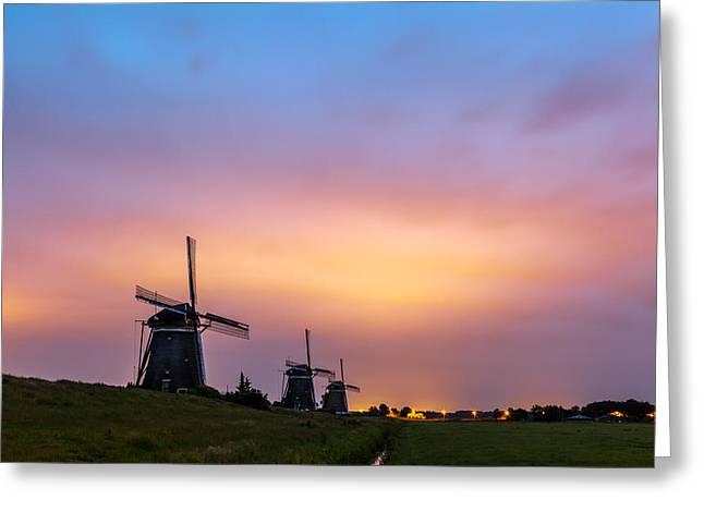 Windmills At Dawn Greeting Card