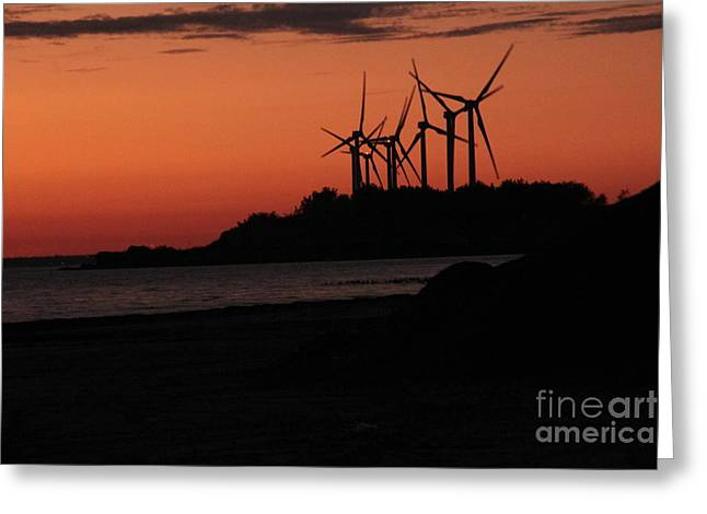Windmills At Sunset Greeting Card