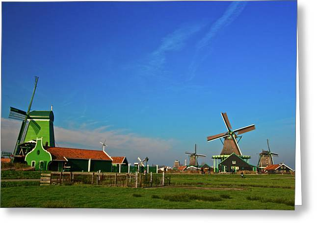 Greeting Card featuring the photograph Windmills At Zaanse Schans by Jonah  Anderson